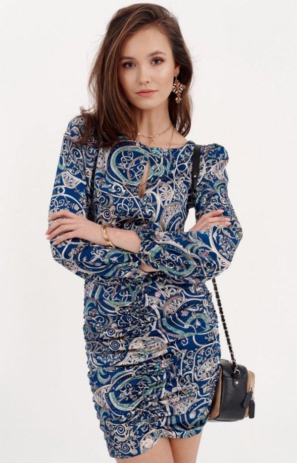 Ołówkowa sukienka z bufiastymi rękawami 0280/S23