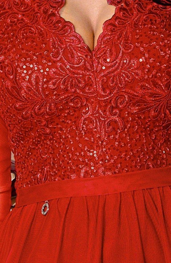 Bicotone 2167-02 MAXI sukienka czerwona ZOOM