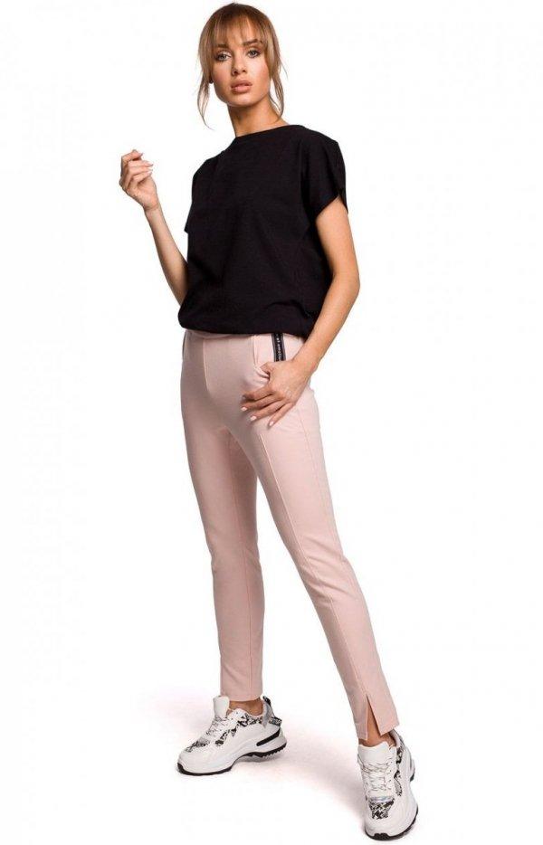 Dresowe spodnie z rozporkami pudrowy M493