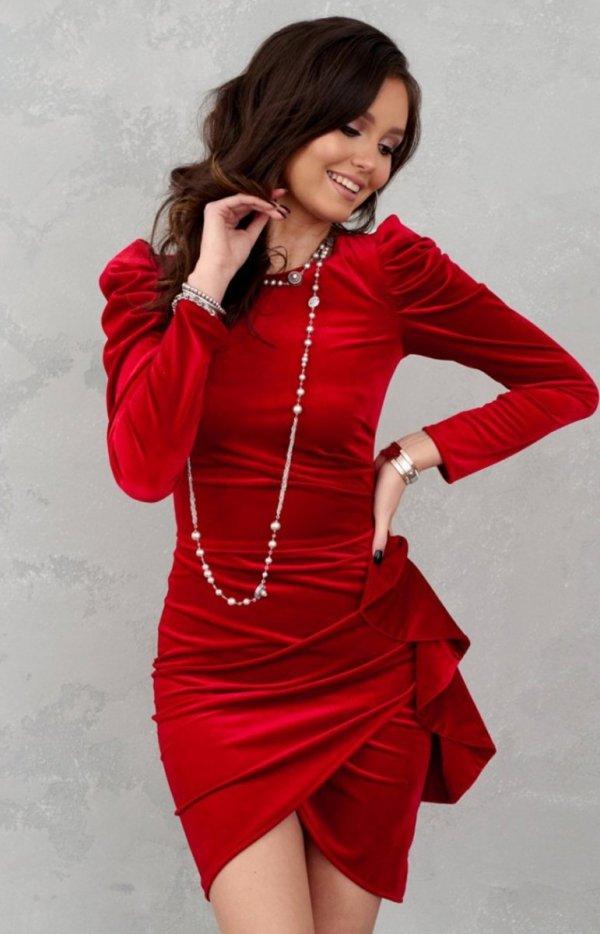 Wieczorowa sukienka z bufkami czerwona 270-2