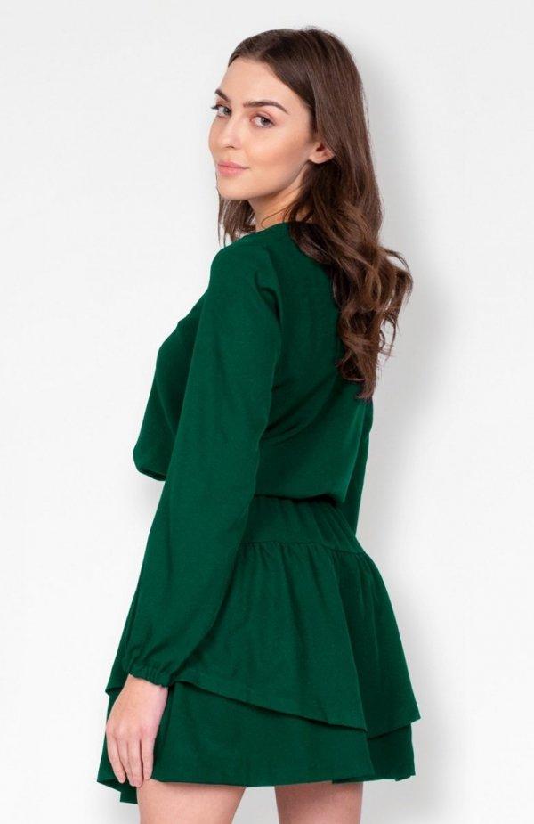 Sukienka z falbanką zielona SUK175 tył