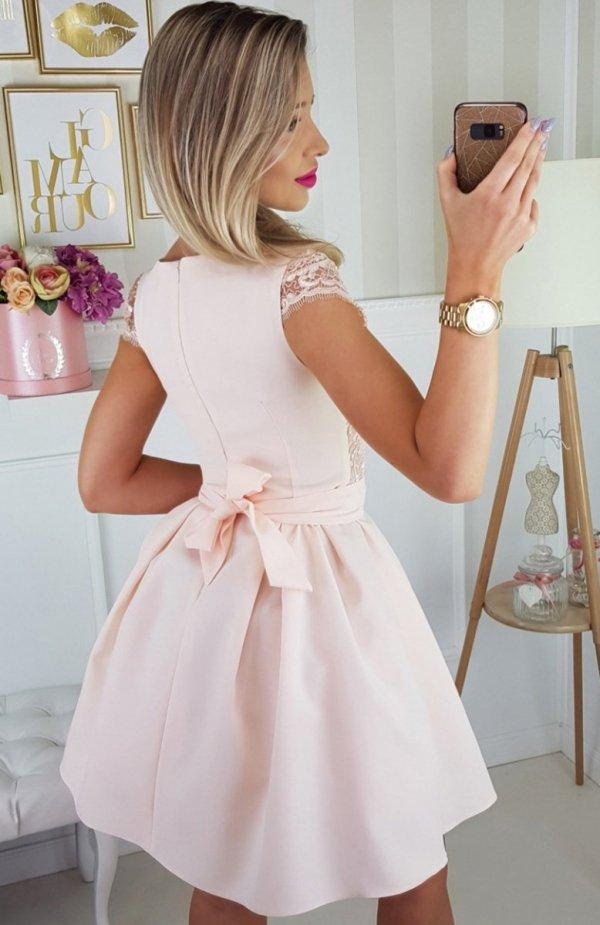 Bicotone  2139-17 sukienka łososiowa tył
