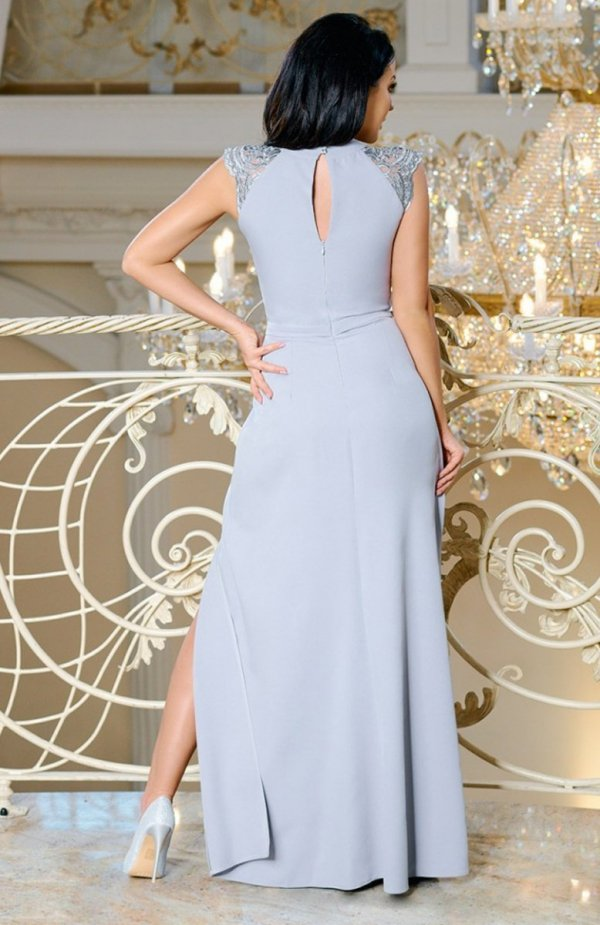 Bicotone 2168-03 sukienka szara tył