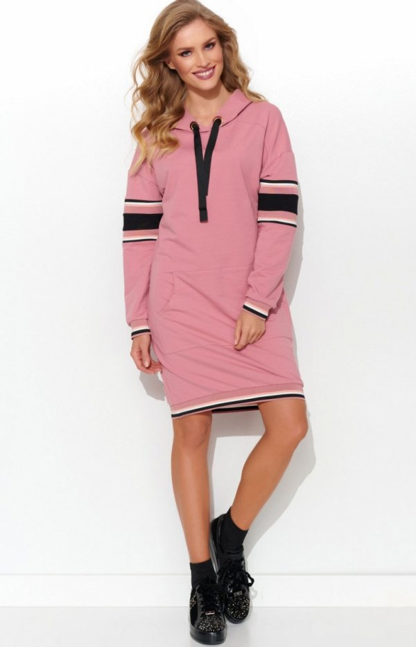 Sportowa sukienka z kapturem różowa NU280-1
