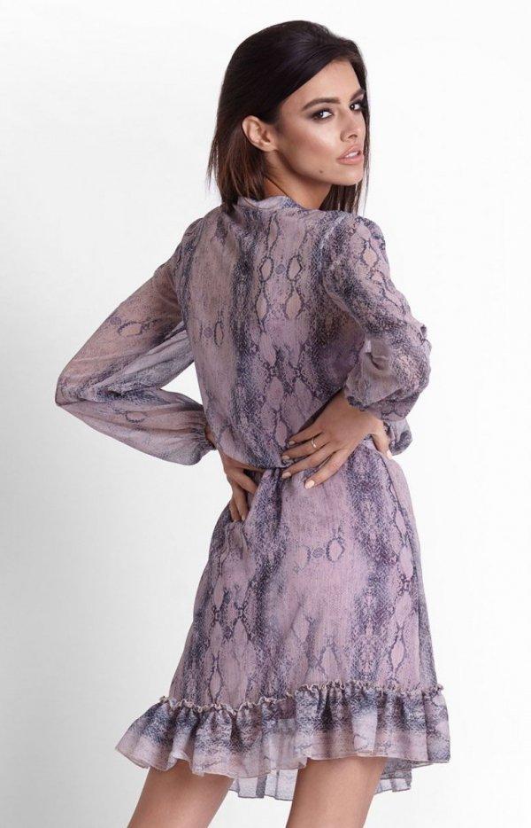 Szyfonowa sukienka na gumie w kwiaty Leila tył