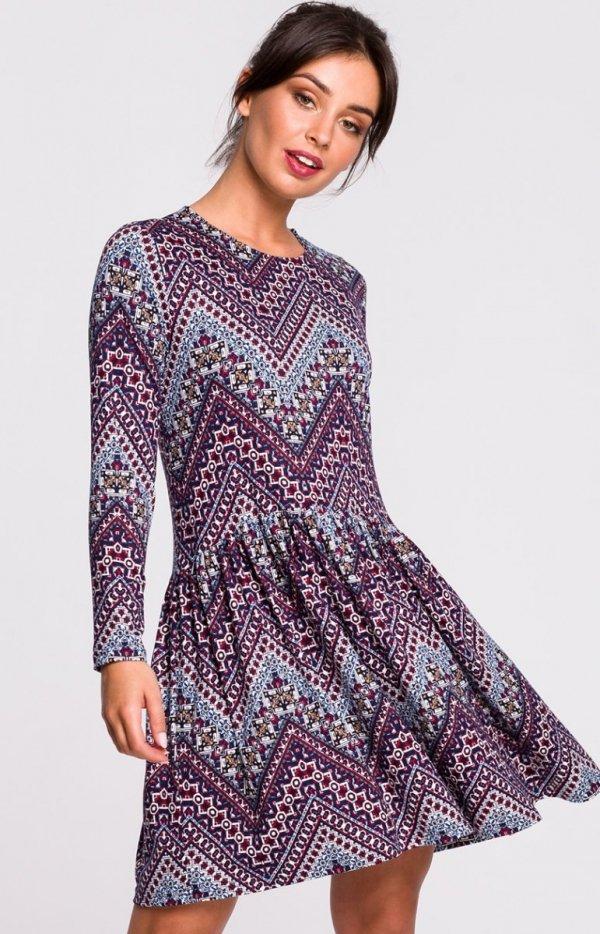 Dzianinowa sukienka wielokolorowa B136
