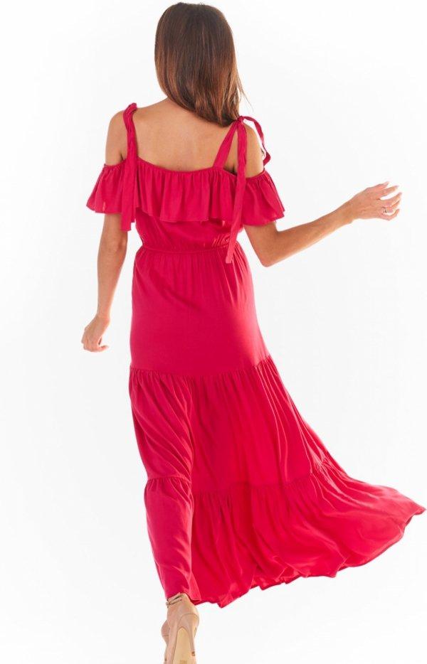 Długa letnia sukienka hiszpanka różowa A358 tył