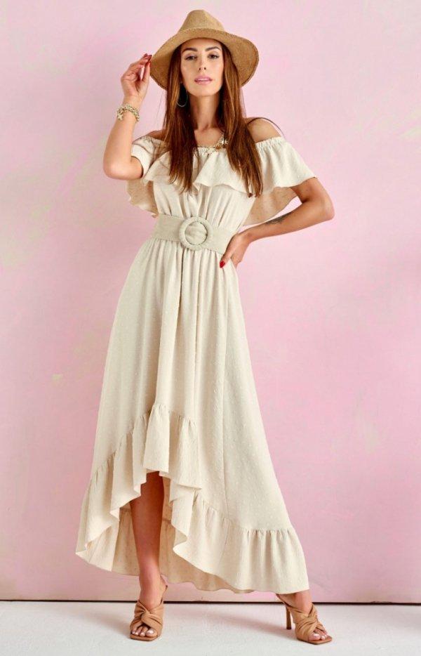 Asymetryczna sukienka hiszpanka beżowa 0334