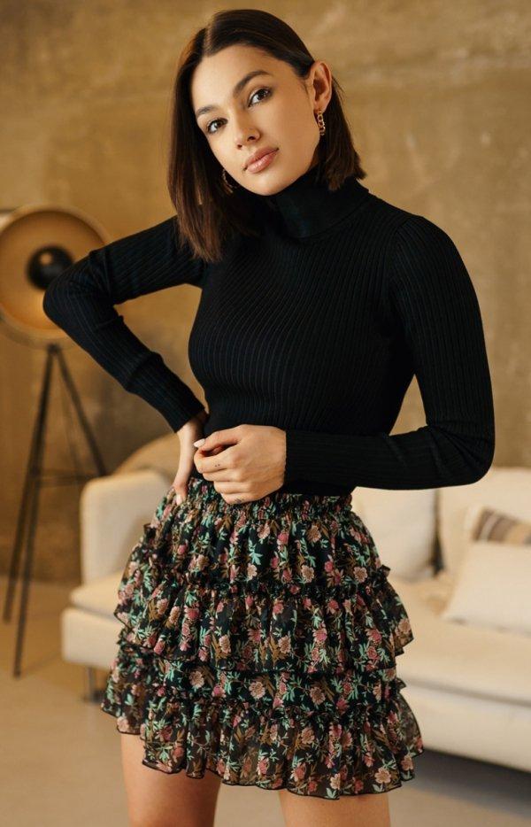 Mini spódniczka w kwiaty zielona 05