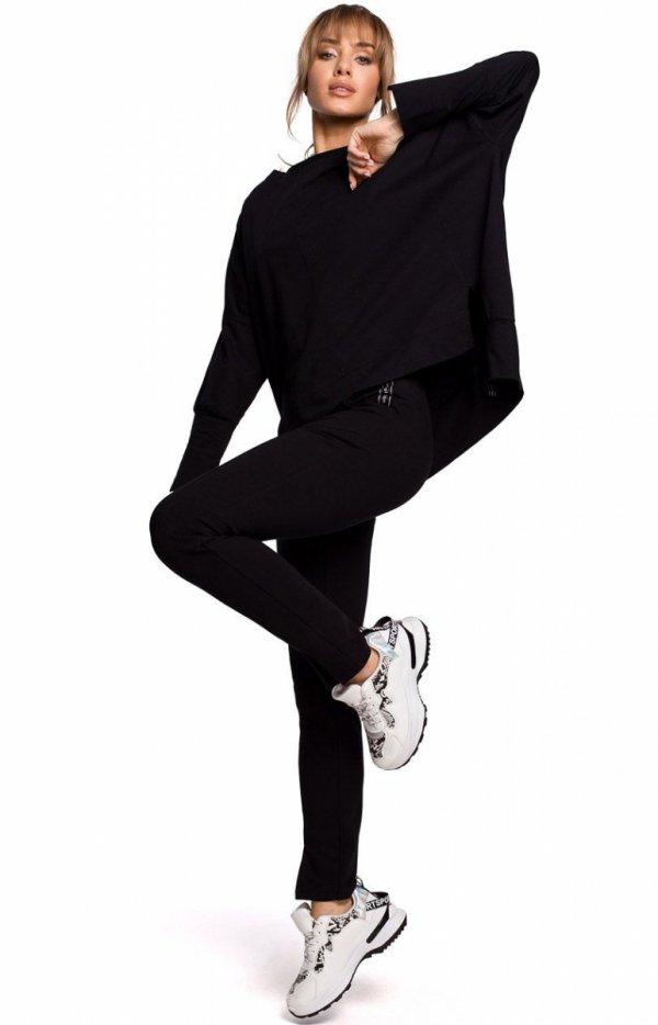 Dresowe spodnie z rozporkami czarne M493-1