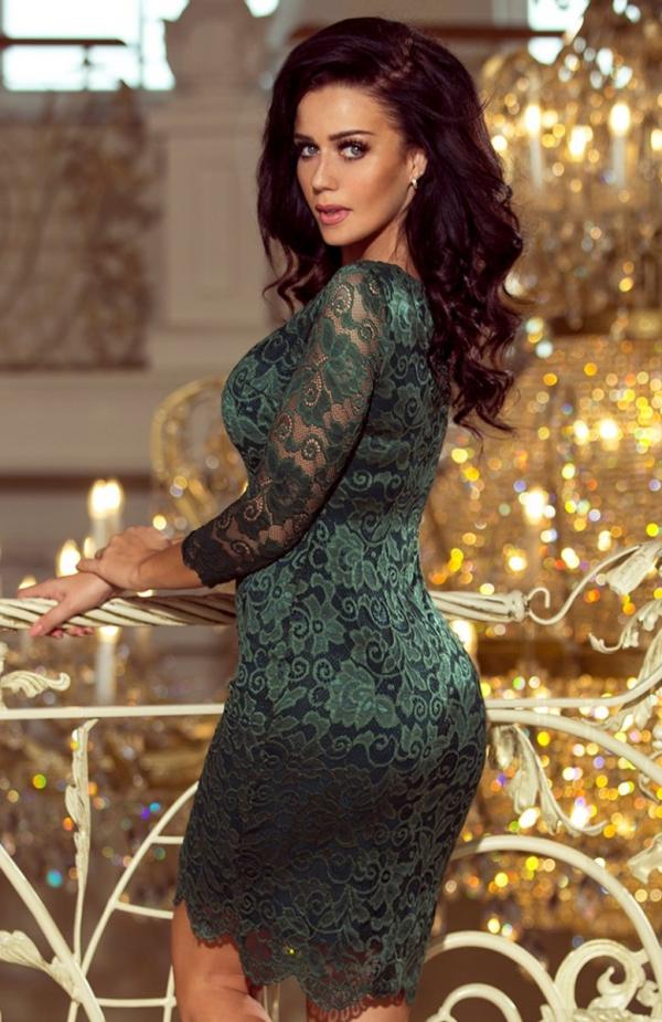 Numoco 180-3 sukienka koronkowa zielona tył