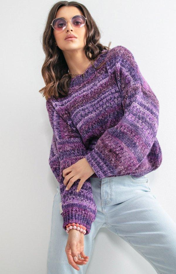 Oversizowy sweter multikolor fiolet F1163