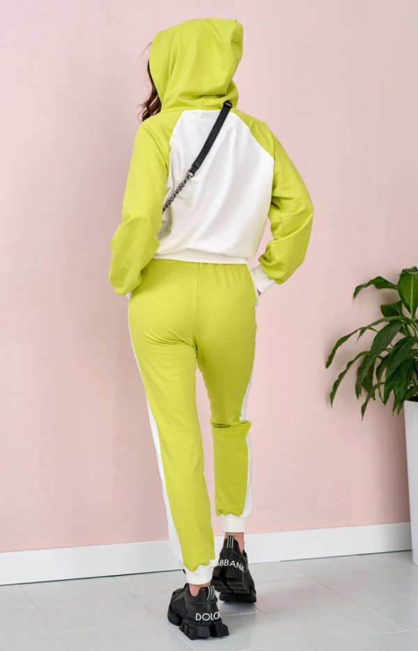 Dwukolorowy dres z kapturem limonka 0006 tył