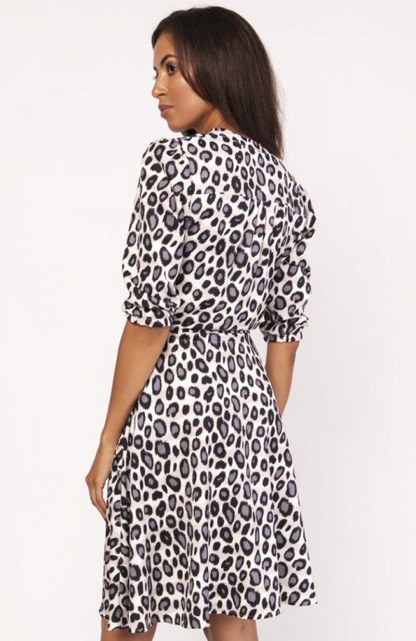 Sukienka o rozkloszowanym dole panterka SUK155 tył
