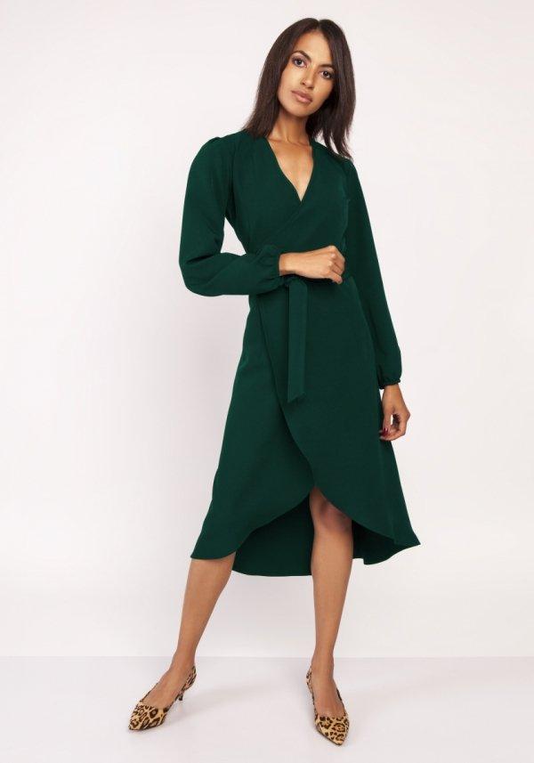 Asymetryczna, kopertowa sukienka zielona SUK160