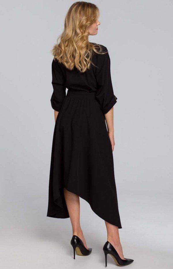 Asymetryczna długa sukienka K086 tył