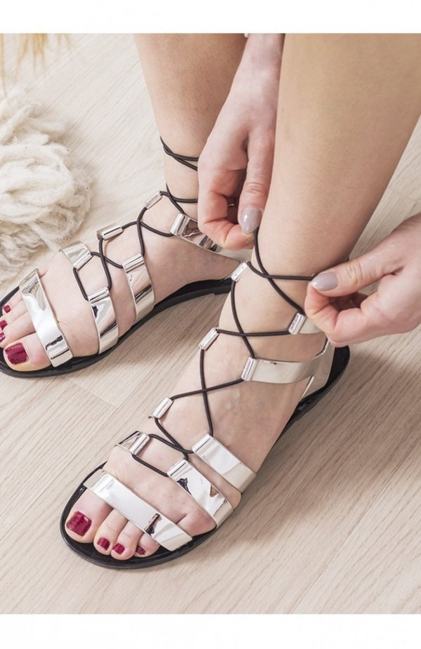 Srebrne sandałki damskie