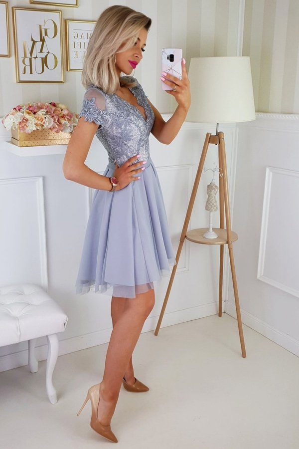 Bicotone 2180-03 sukienka rozkloszowana szara-2