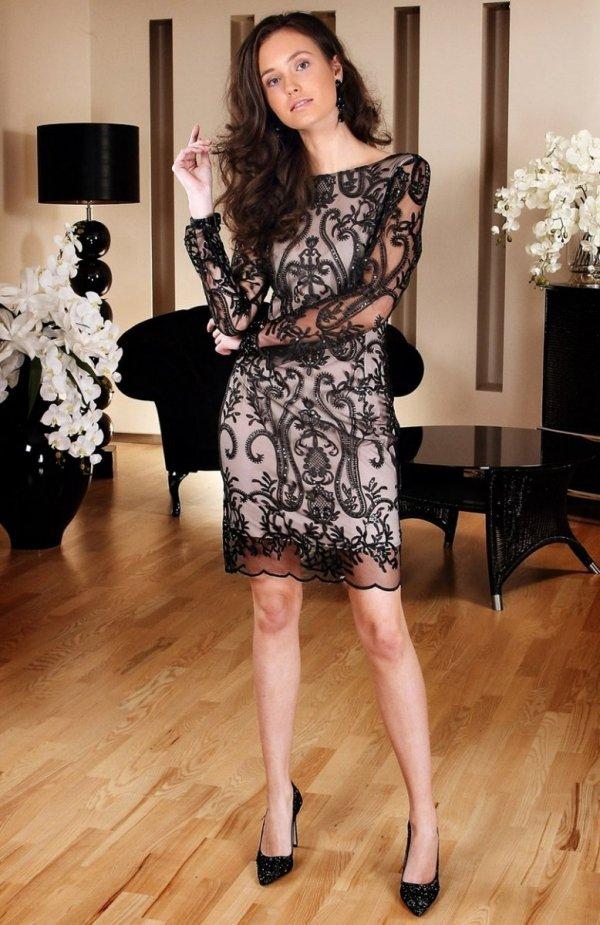 Roco 0122 sukienka czarno-beżowa