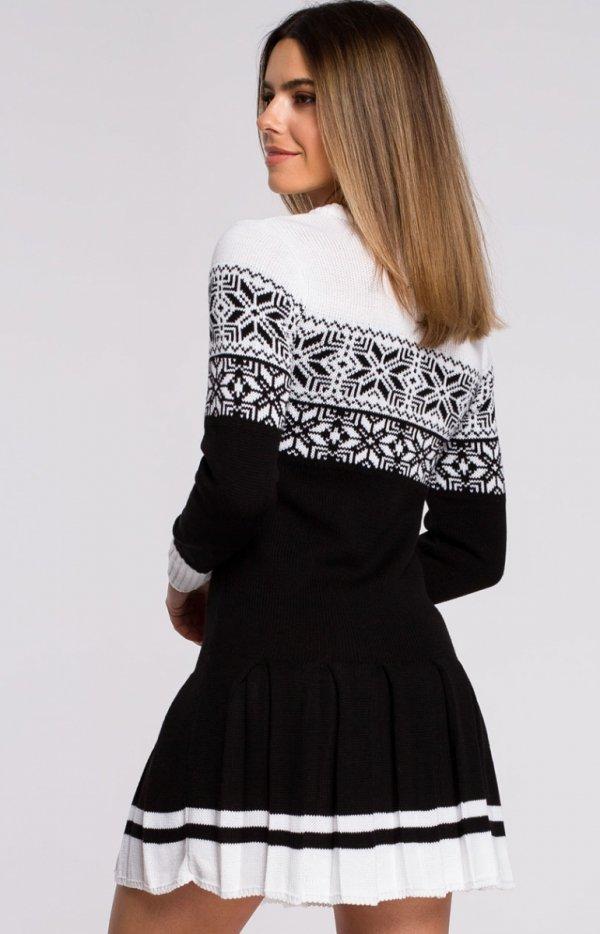 Sweterkowa sukienka święta czarna MXS01 tył