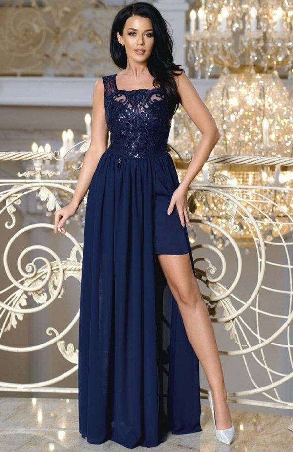 Bicotone 2171-01 sukienka maxi granatowa