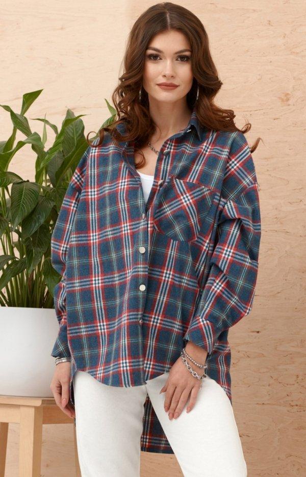 Asymetryczna koszula w kratę 0103 A14-1