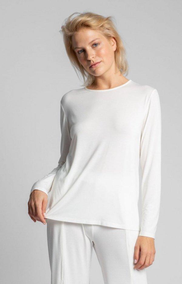 Wiskozowa bluzka ecru z rozcięciem na plecach LA027