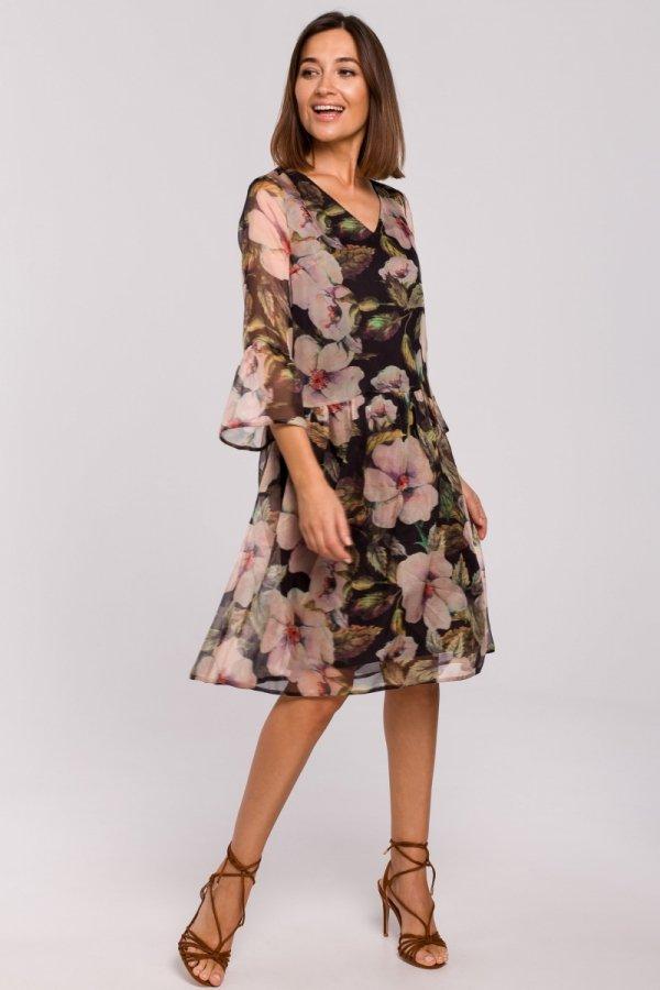 Oversizowa sukienka w kwiaty S214/3-1