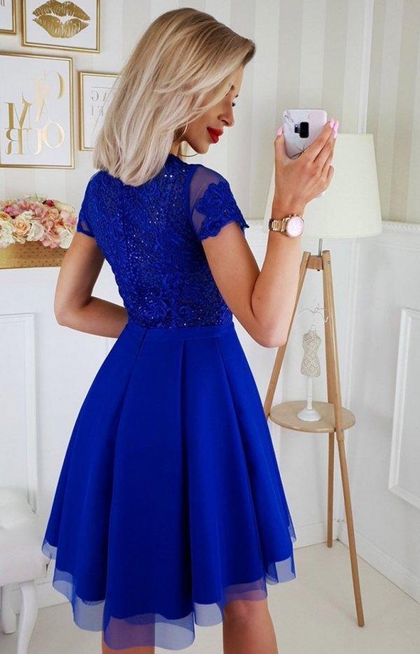Chabrowa koronkowa sukienka z tiulem 2180-05 tył