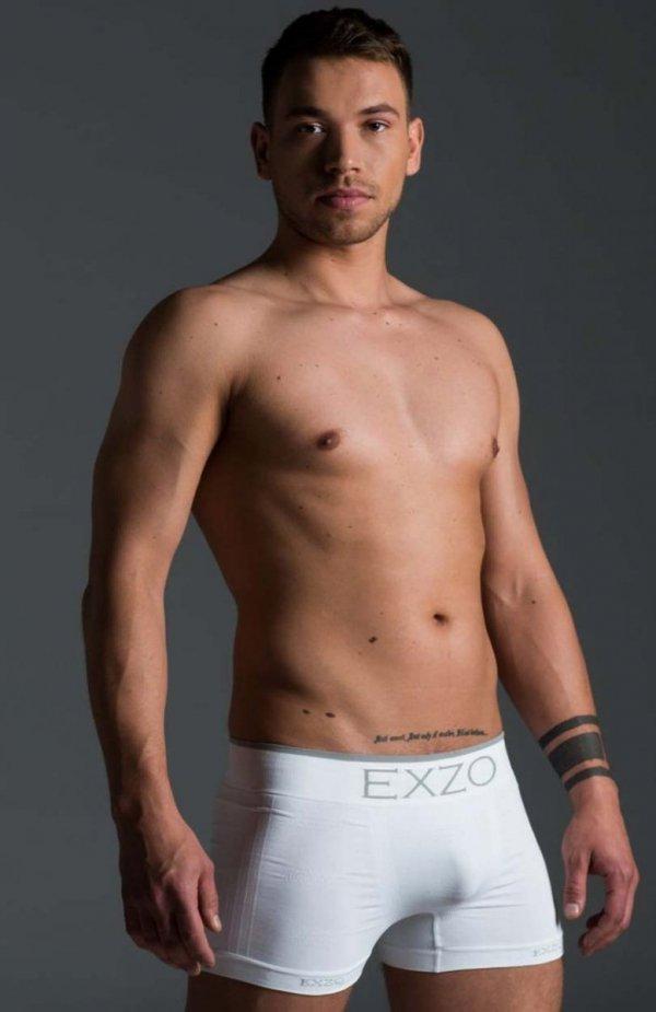 EXZO bokserki męskie mikrofibra białe
