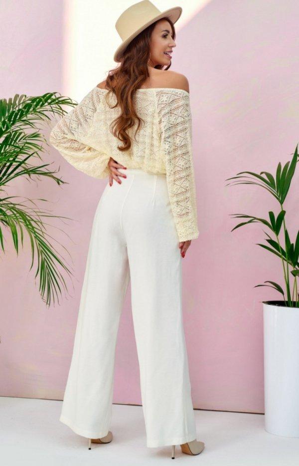 Szerokie spodnie plazzo ecru 0011 tył