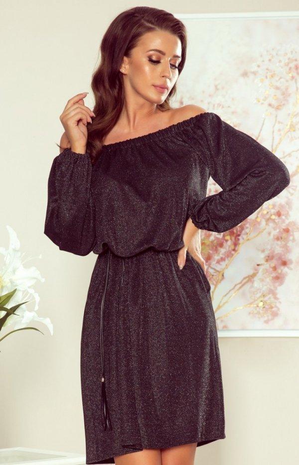 Sweterkowa sukienka z połyskiem 270-2 czarna Numocco