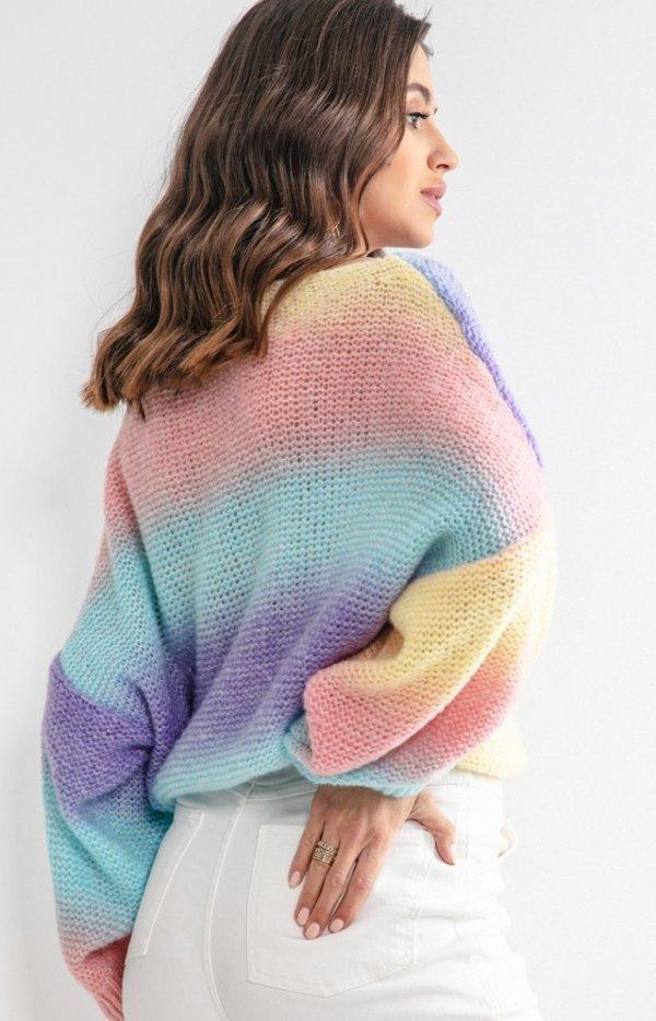 Pastelowy oversizowy sweter elnido F1162 tył