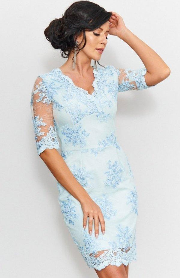 Roco 0153 sukienka koronkowa błękitna