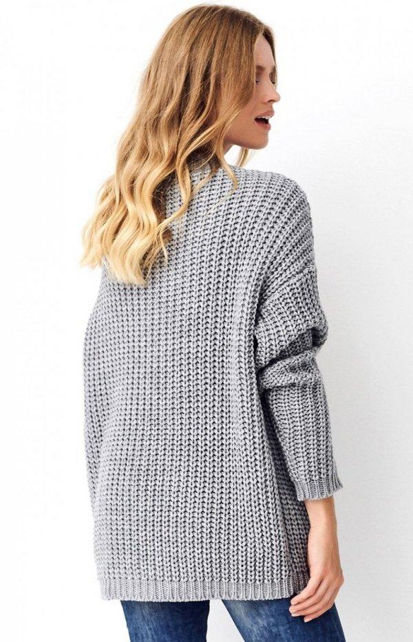 Oversizowy sweter szary S74 tył