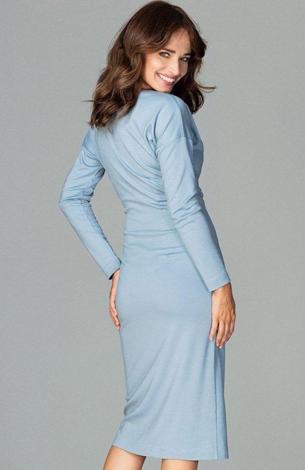 Lenitif K477 sukienka niebieska tył