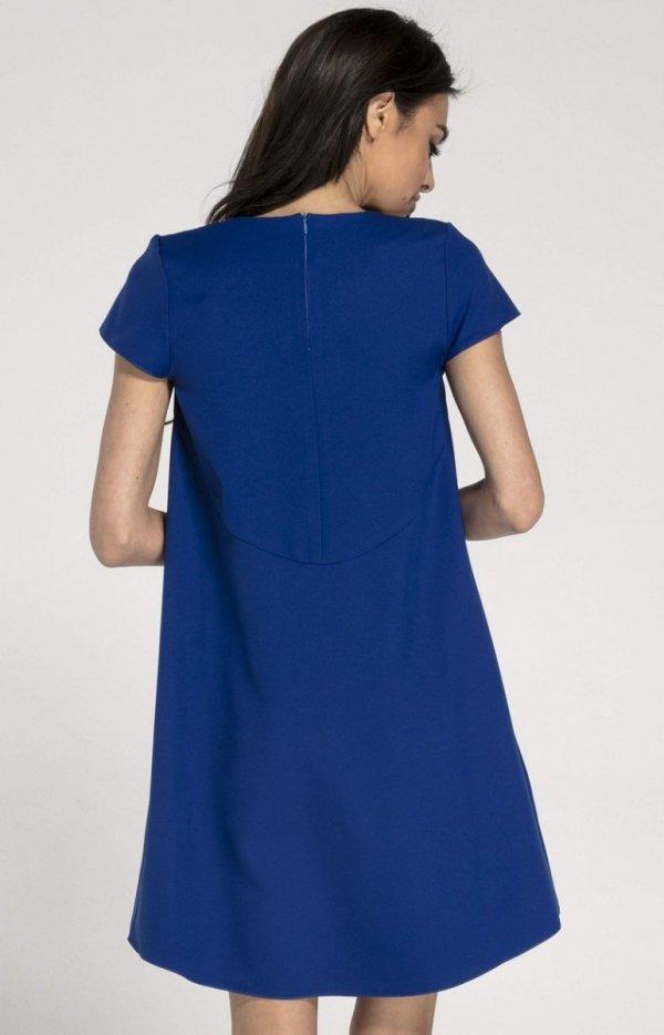 Oversizowa casualowa sukienka kobaltowa NA1003 tył