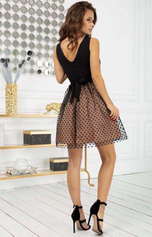 Rozkloszowana sukienka w groszki 2217-16 tył
