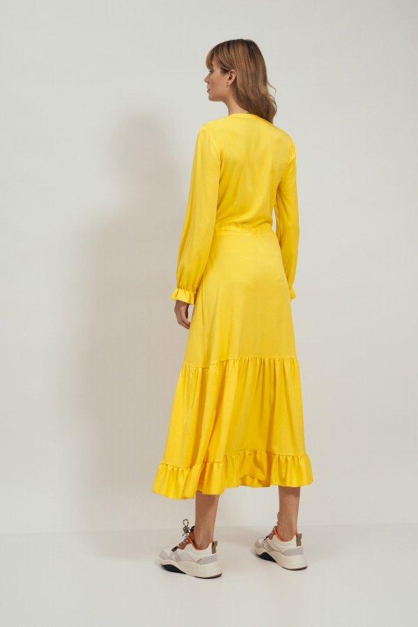 Długa sukienka żółta z falbaną s178 tył