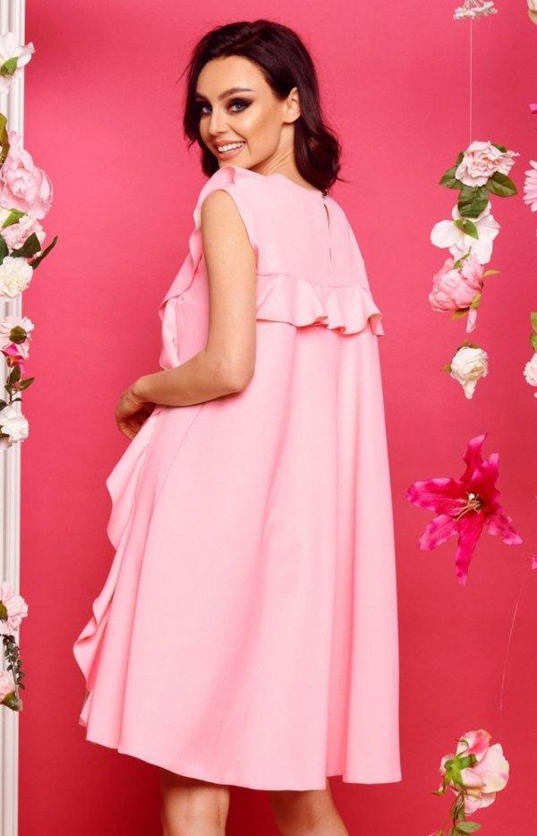 Oversizowa sukienka z falbanami pudrowy róż L298 tył