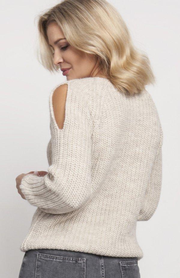 Raglanowy sweter beż SWE126 tył