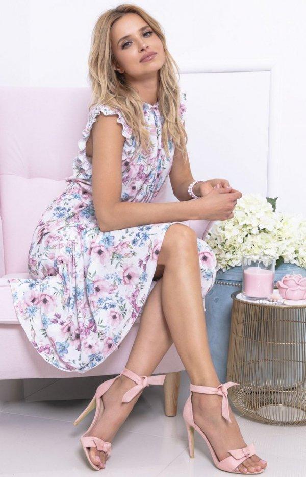 Długa sukienka w kwiaty F728-1