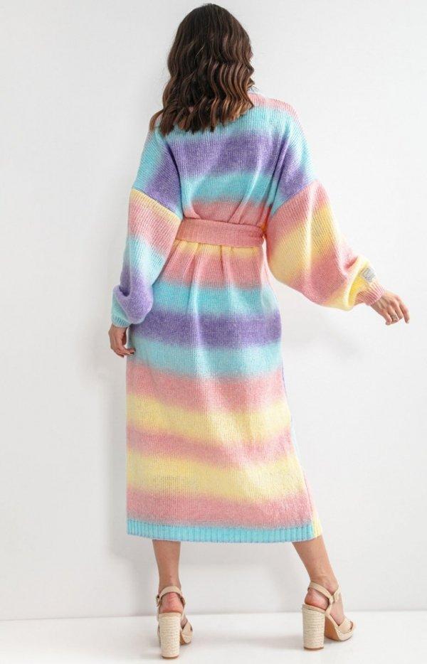 Długi kardigan multicolor elnindo z wełną F1160 tył