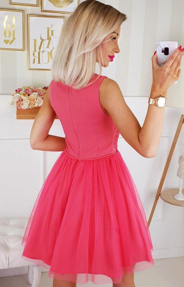Bicotone sukienka z koronką malinowa 2179-07 tył