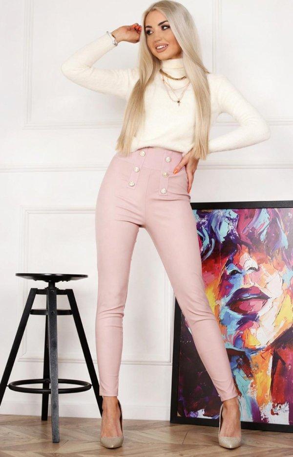 Różowe spodnie z miękkiej eko skórki