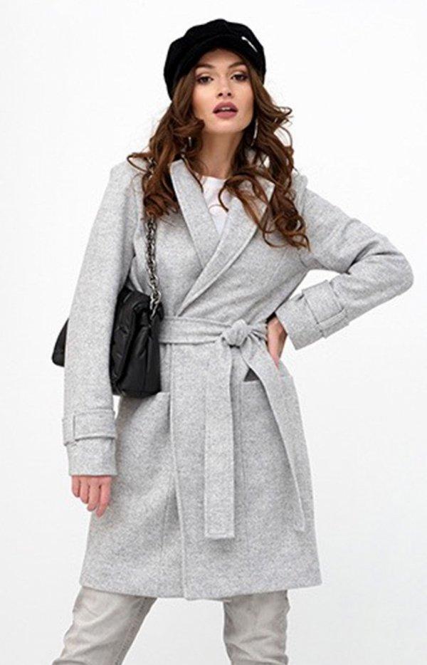 Wiązany płaszcz damski szary 0019