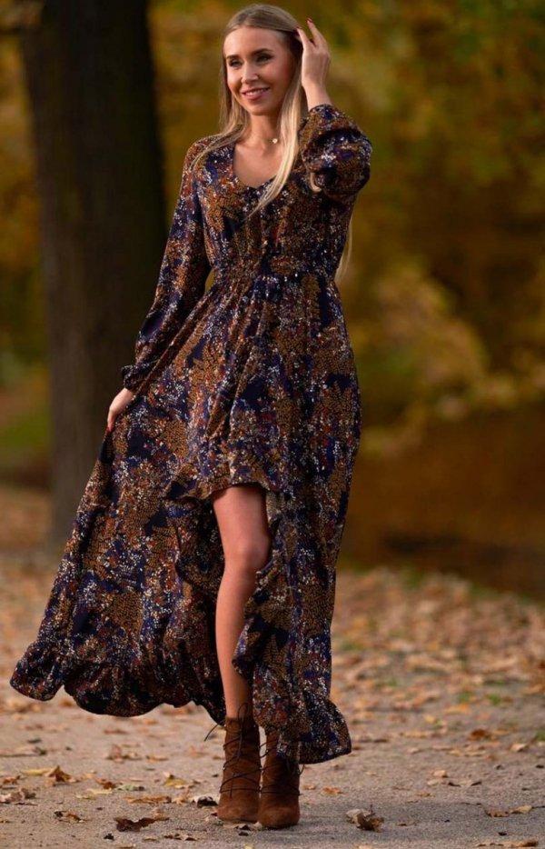 Asymetryczna sukienka maxi Lola wielokolorowa