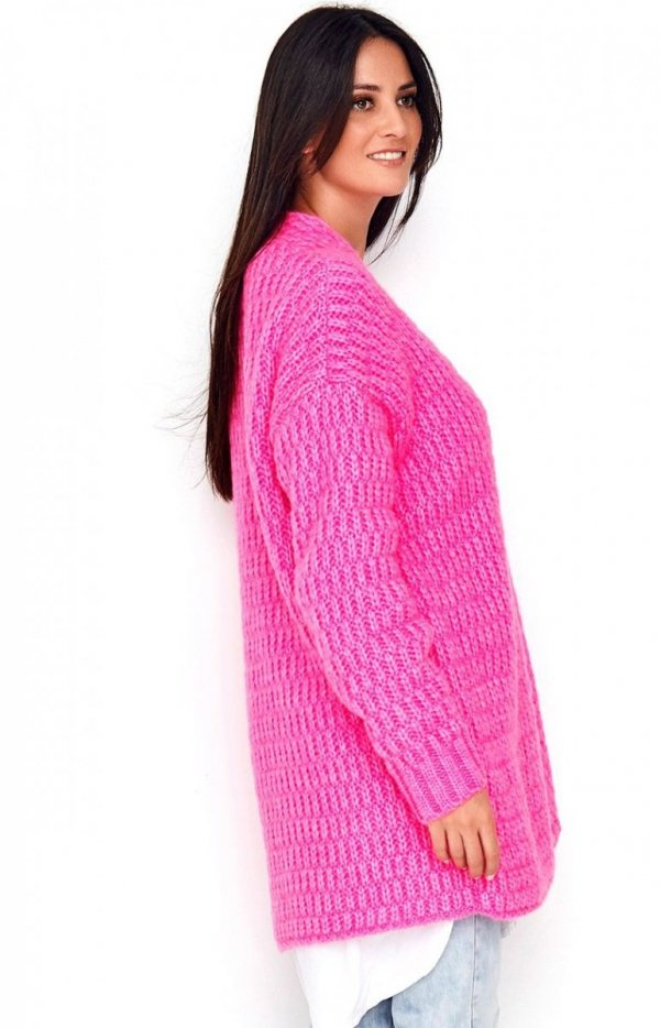 Ciepły sweter zapinany na guzik różowy Numinou S66 tył
