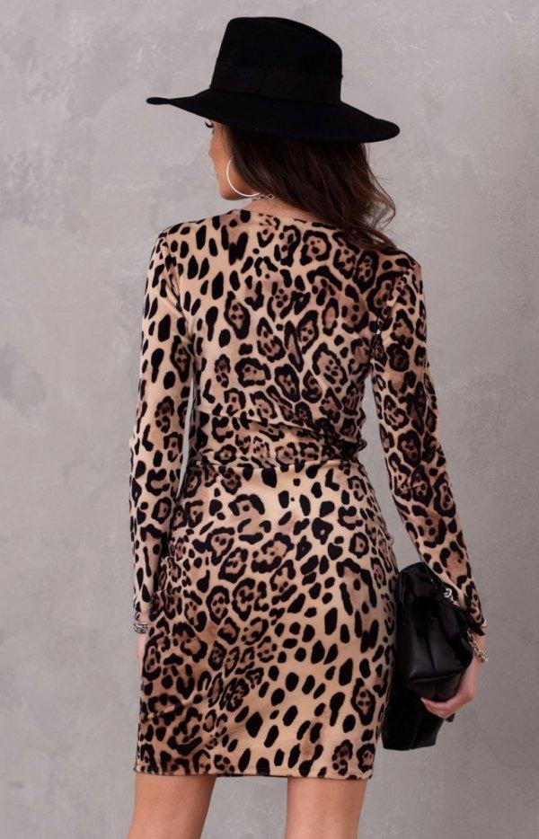 Welurowa mini sukienka panterka 0313/K04 tył