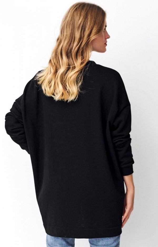 Asymetryczna bluza damska czarna Numinou NU250 tył